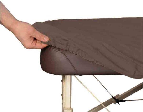 Copridivano per lettino da massaggio colore caff/è con foro per il viso in policotone elasticizzato